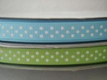 10mm BLUE, APPLE GREEN & TURQUOISE POLKA DOTS GROSGRAIN RIBBONS